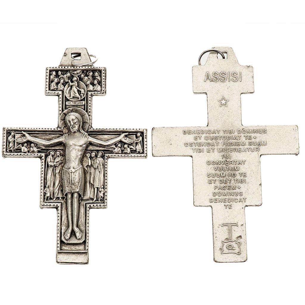 Saint Damien cross pendant, silver metal 8.5cm 4