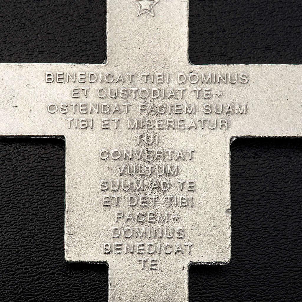 Colgante 8,5 cm Cruz de San Damián metal plateado 4