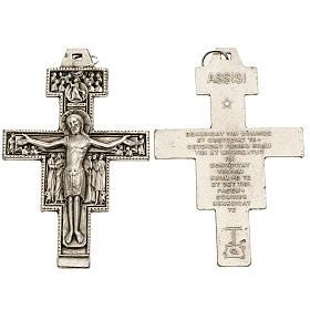 Pingente cruz São Damião metal prateado 8,5 cm s1