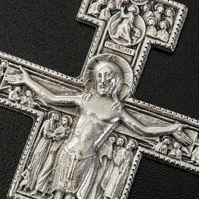 Pingente cruz São Damião metal prateado 8,5 cm s2