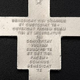Pingente cruz São Damião metal prateado 8,5 cm s3