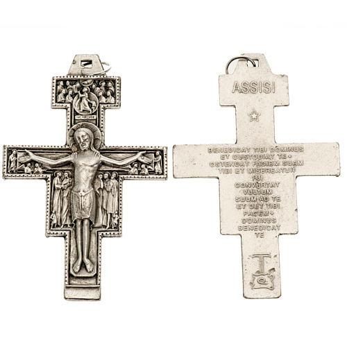 Pingente cruz São Damião metal prateado 8,5 cm 1