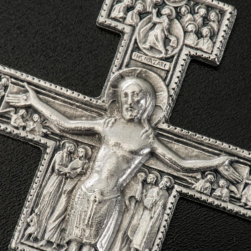 Pingente cruz São Damião metal prateado 8,5 cm 2