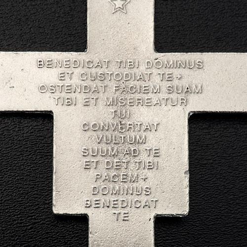 Pingente cruz São Damião metal prateado 8,5 cm 3
