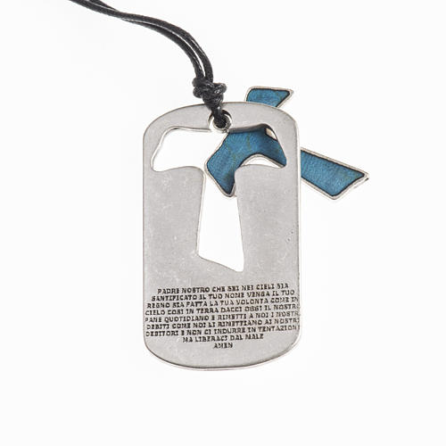 Ciondolo Croce Tau Padre Nostro con filo 2