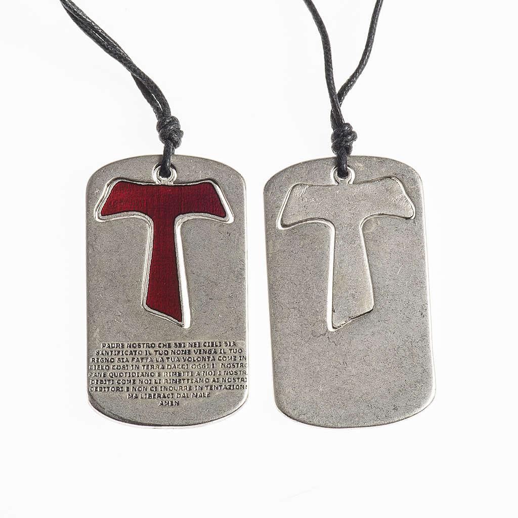 Pingente cruz tau vermelho Pai Nosso com fio encerado 4