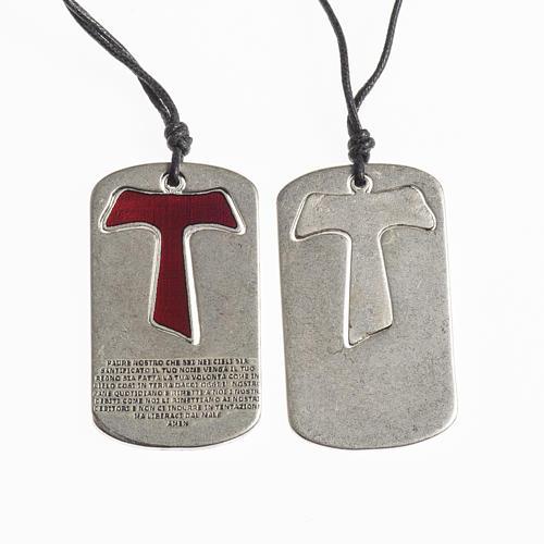 Pingente cruz tau vermelho Pai Nosso com fio encerado 1