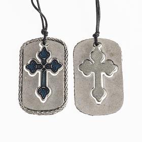 Cruces Colgantes Collares de metal: Colgante Cruz con esmalte azul