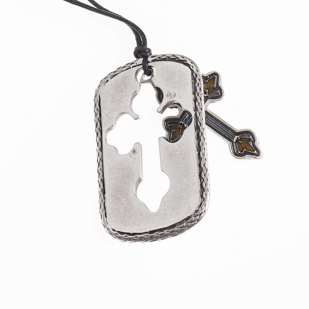 Cross pendant, amber light blue enamel 4