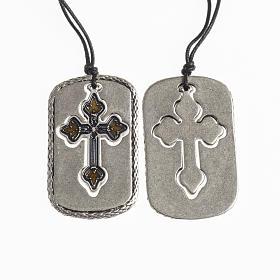 Cross pendant, amber light blue enamel s1