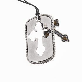 Cross pendant, amber light blue enamel s2