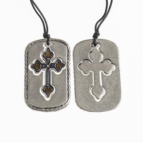 Cross pendant, amber light blue enamel 1