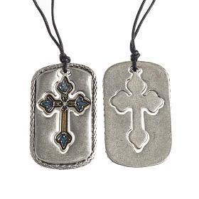 Pendenti croce metallo: Ciondolo bombato Croce smalto ambra azzurro