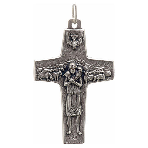 Colgante Cruz Papa Francisco metal 4x2,5 cm 1