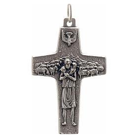 Pendente croce Papa Francesco metallo 4x2.5 cm s1