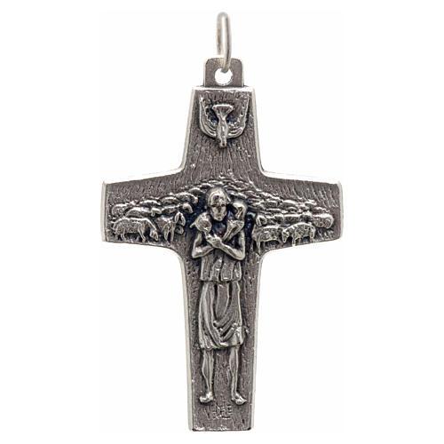Pendente croce Papa Francesco metallo 4x2.5 cm 1