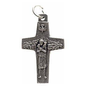 Pendentif croix Pape François métal 3x1,6 cm s1