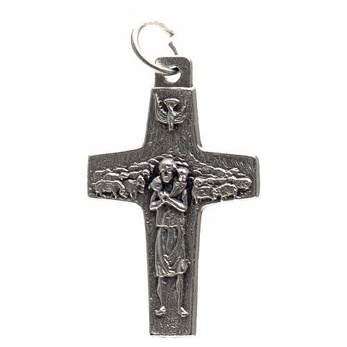 Pendentif croix Pape François métal 3x1,6 cm 1