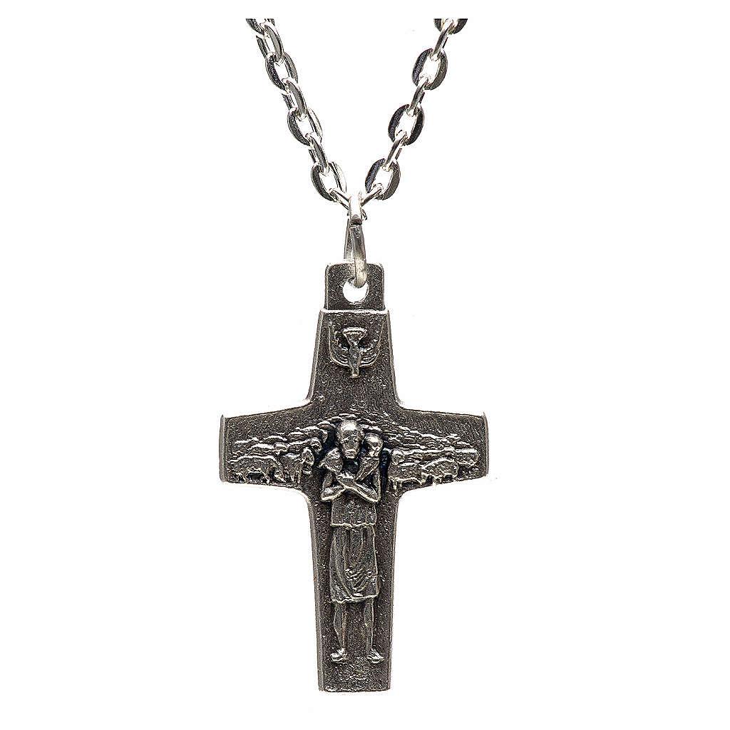 Collana croce Papa Francesco metallo 3x1,6 4