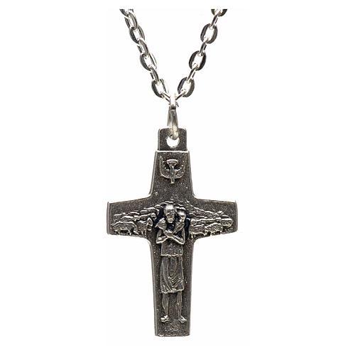 Collana croce Papa Francesco metallo 3x1,6 1