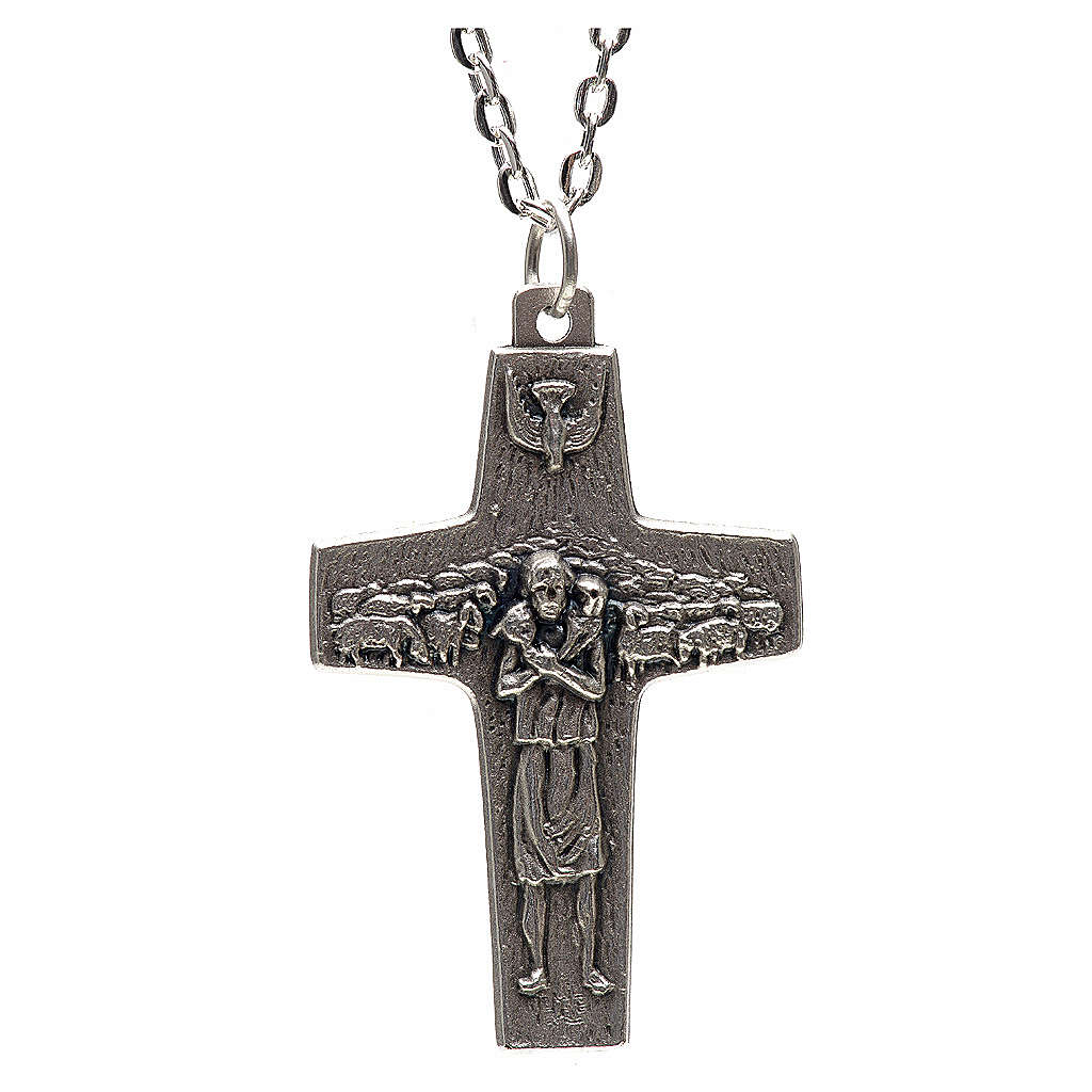 Pope Francis cross necklace metal 4x2.5cm 4