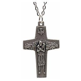 Chaîne avec croix Pape François métal 4x2,5 cm s1