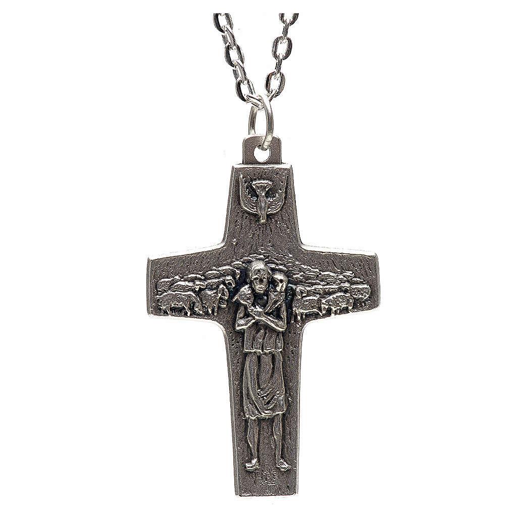 Collana croce Papa Francesco metallo 4x2,5 4