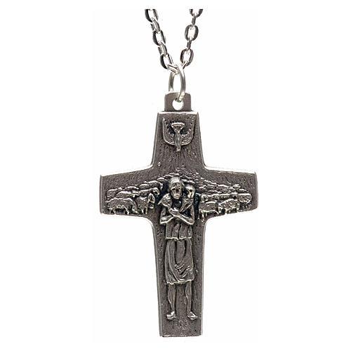 Collana croce Papa Francesco metallo 4x2,5 1