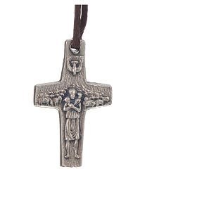 Pope Francis cross necklace metal 2x1.4cm with twine s1