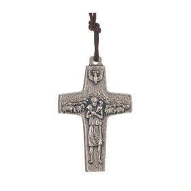Collar Cruz del Papa Francisco metal 4x2,6cm con cuerda s1