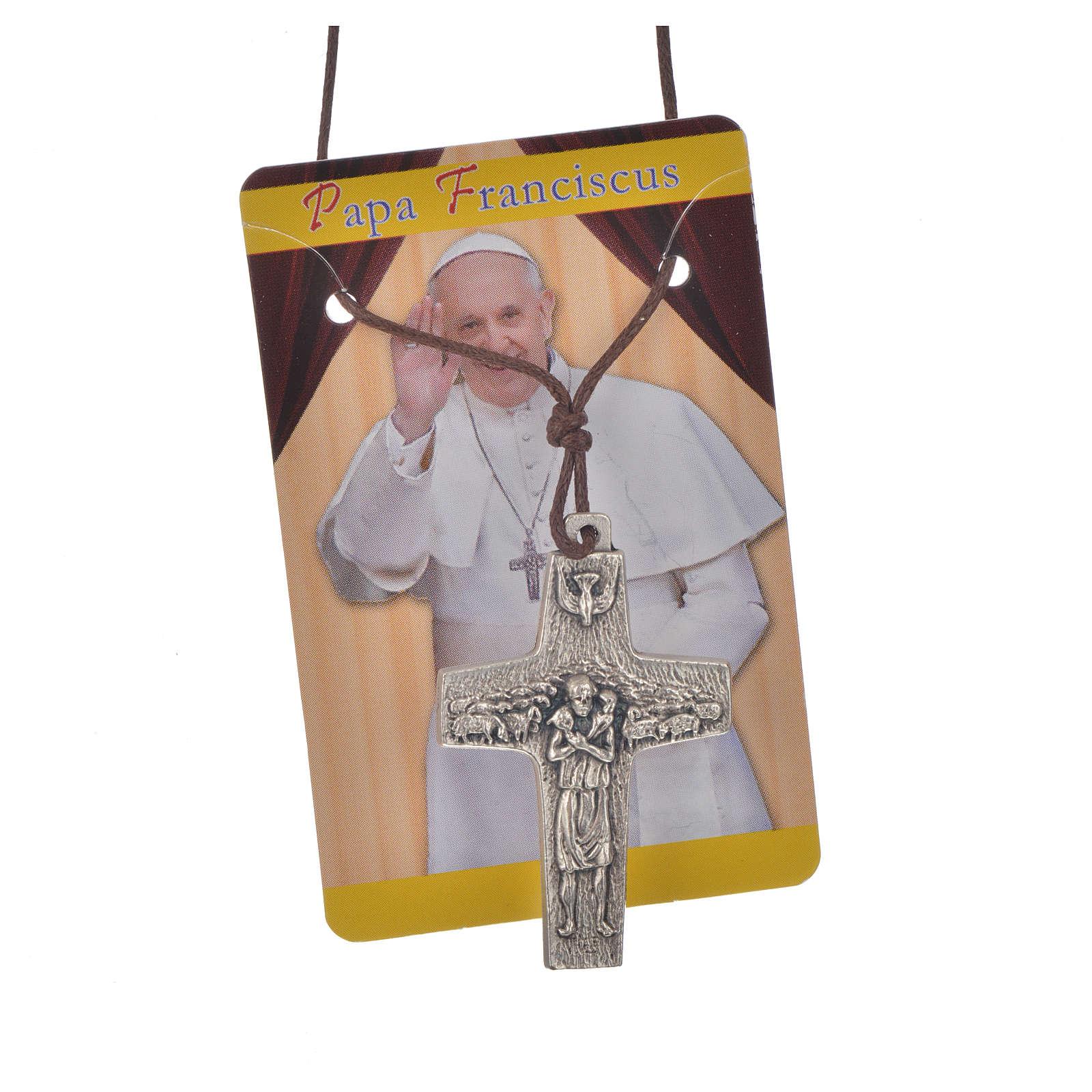 Collana Croce Papa Francesco metallo 4x2,6 cm con corda 4