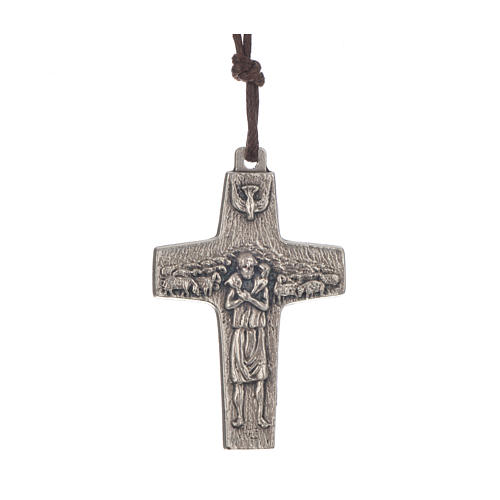 Collana Croce Papa Francesco metallo 4x2,6 cm con corda 1