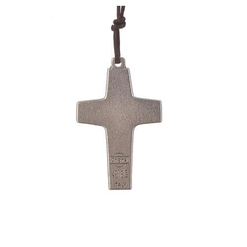 Collana Croce Papa Francesco metallo 4x2,6 cm con corda 2