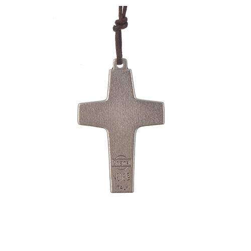Necklace with cross of Pope Francis in metal, 4x2,6cm 2