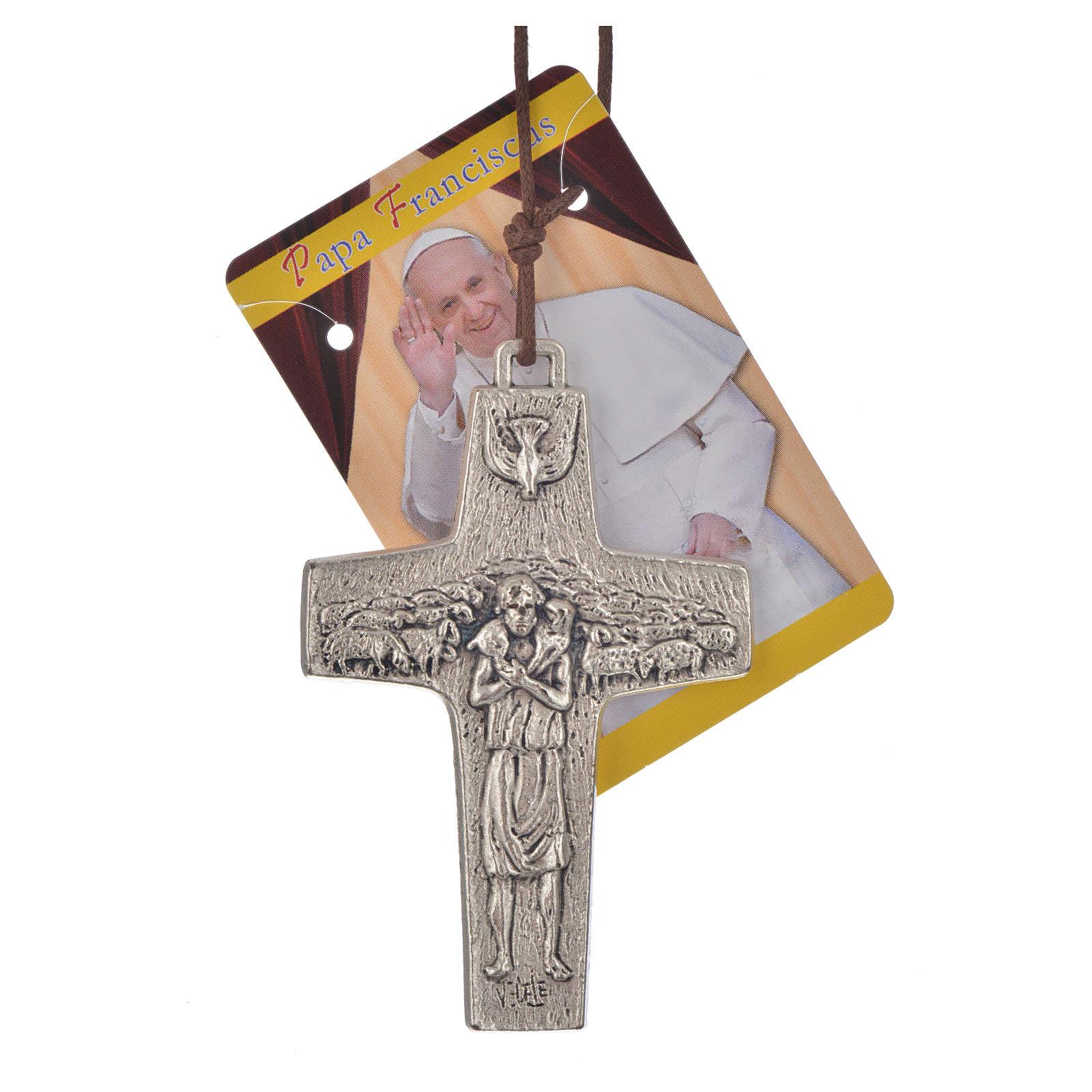 Wisiorek krzyż Papież Franciszek metal 8 x 5 4