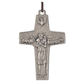 Zawieszki krzyż metal: Wisiorek krzyż Papież Franciszek metal 8 x 5