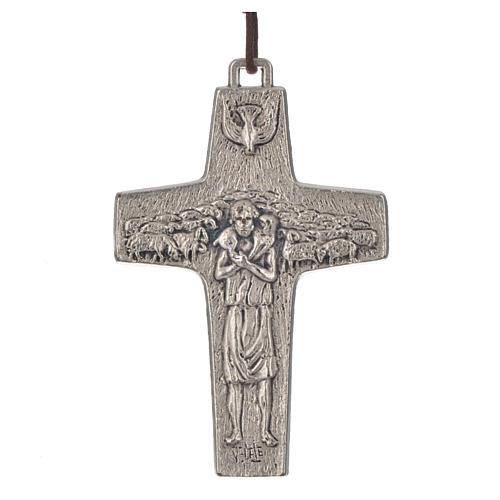 Wisiorek krzyż Papież Franciszek metal 8 x 5 1