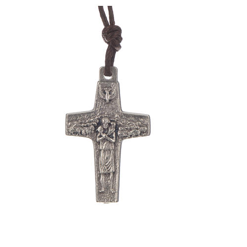 Pope Francis cross necklace metal 2.8x1.8cm with twine 1