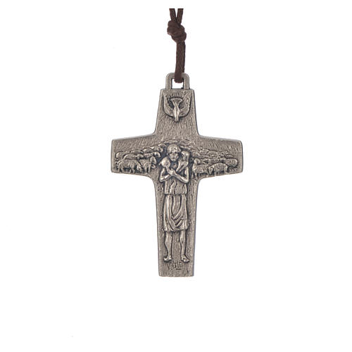 Pope Francis cross necklace metal 5x3.4cm with twine 1