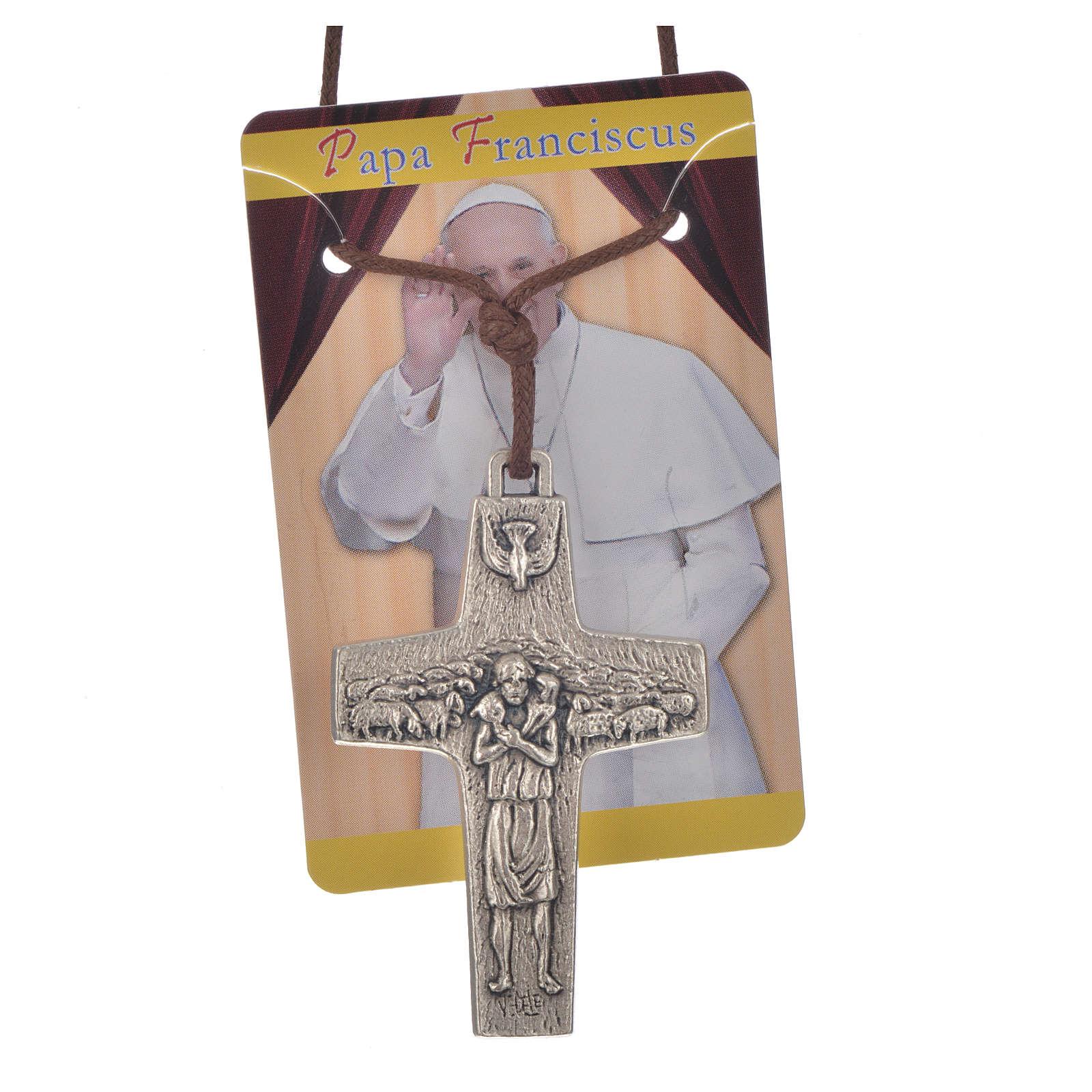 Collier croix Pape François 5x3,4cm corde 4