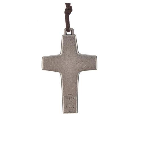 Collier croix Pape François 5x3,4cm corde 2