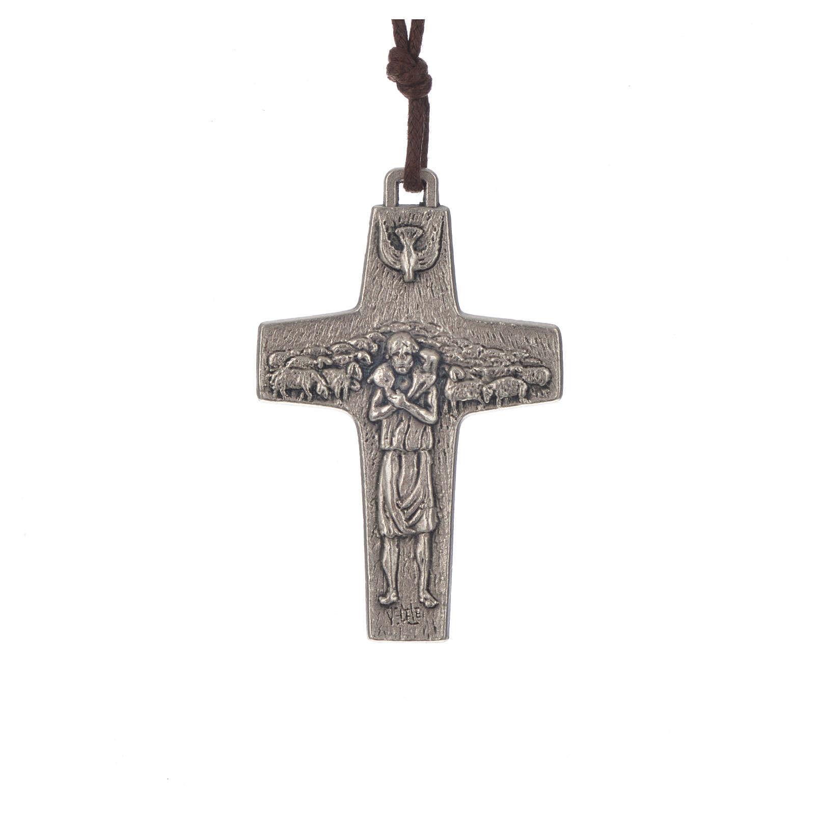 Collana Croce Papa Francesco metallo 5x3,4 cm con corda 4