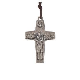Collana Croce Papa Francesco metallo 5x3,4 cm con corda s1