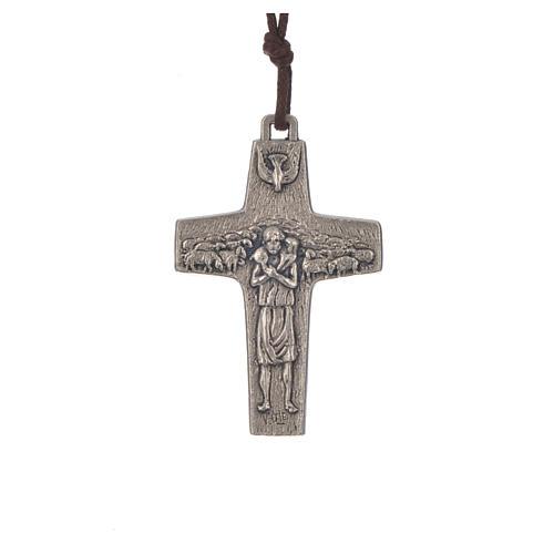 Collana Croce Papa Francesco metallo 5x3,4 cm con corda 1