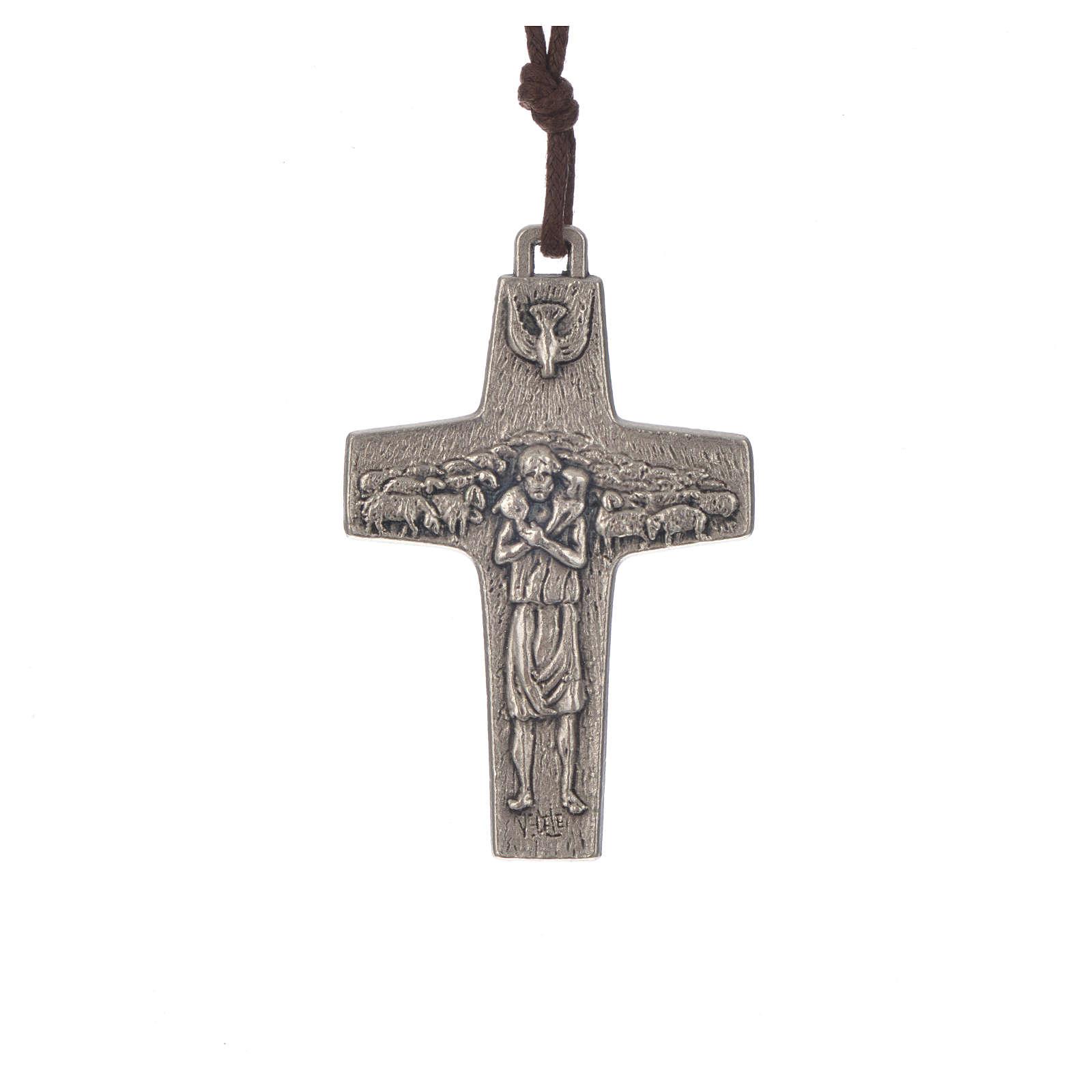 Zawieszka krzyż Papież Franciszek metal 5 X 3,4cm ze sznurkiem 4