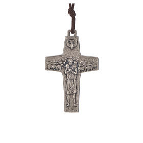 Pope Francis cross necklace metal 5x3.4cm with twine s1