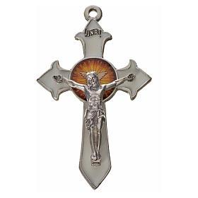Croix avec pointes Saint Esprit 7x4,5 zamac émail blanc s1