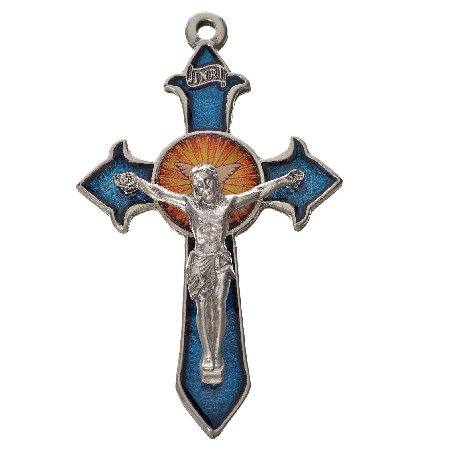 Holy Spirit pointed cross 7x4.5cm in zamak, blue enamel 4