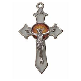 Kreuz heiligen Geist Zama Metall weissen Emaillack 4,5x2,8cm s1