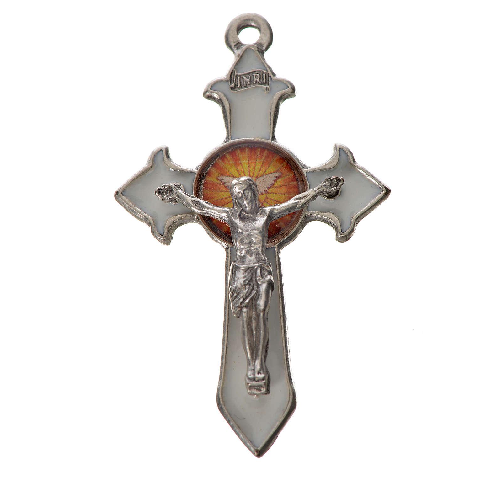 Holy Spirit pointed cross 4.5x2.8cm in zamak, white enamel 4